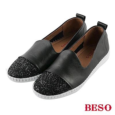 BESO休閒閃鑽 流線弧度休閒鞋~黑