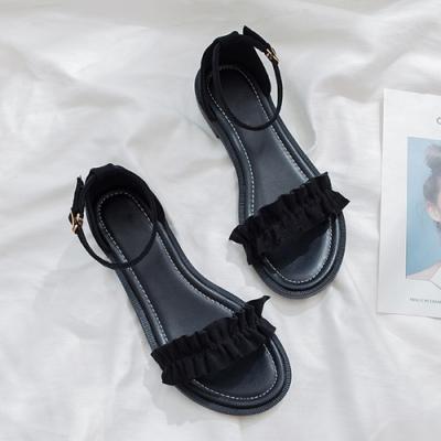 KEITH-WILL時尚鞋館 獨家價甜心花邊美腿涼鞋-黑