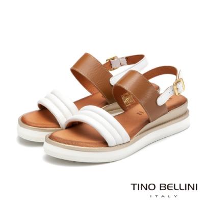 Tino Bellini義大利進口全真皮舒足小坡跟涼鞋_白