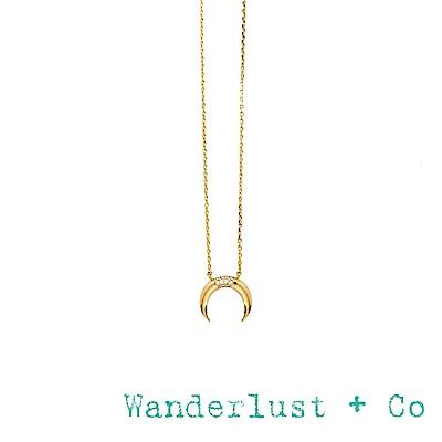 Wanderlust+Co 澳洲品牌 鑲鑽新月項鍊 金色迷你款 LUNA PAVE