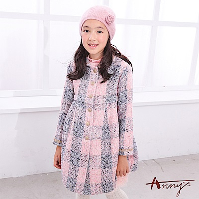 Annys高貴氣質小香風格紋金鈕扣修身傘擺保暖大衣6678粉紅色