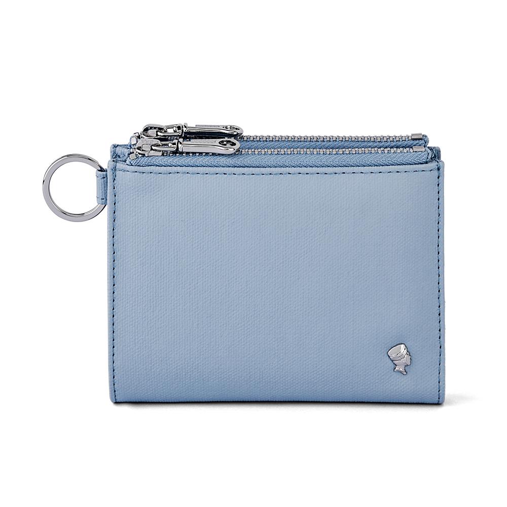 PORTER - 輕甜繽紛SPIRIT多功能雙拉鍊短夾 - 粉藍(銀)