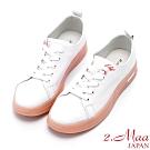 2.Maa 繽紛撞色牛皮綁帶厚底小白鞋 - 橘白