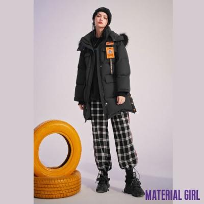 MATERIAL GIRL 史迪奇中長款布貼拼接羽絨外套【20冬季款】-A4506