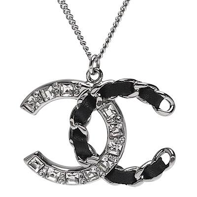 CHANEL 經典雙C LOGO皮革穿繞簍空鎖鍊水鑽鑲嵌項鍊(銀X黑)