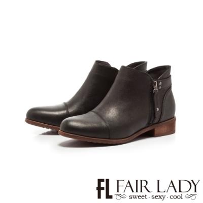 Fair Lady拉鍊造型擦色木紋粗跟短靴 黑