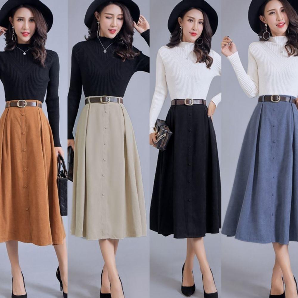 La Belleza復古包釦排釦鬆緊腰圍大擺長裙半身裙(附腰帶)