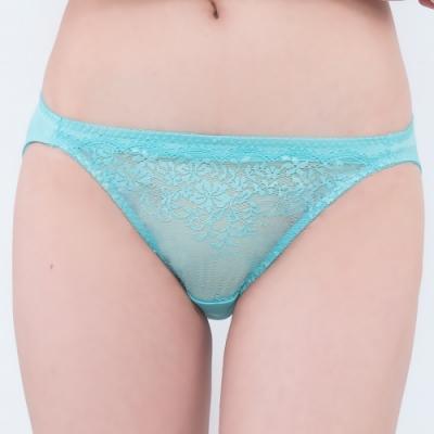 思薇爾 深V誘惑系列M-XL蕾絲低腰三角內褲(暈藍色)