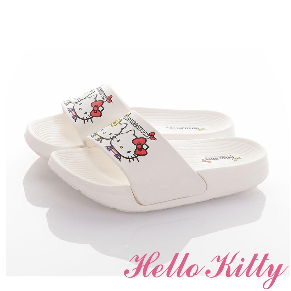 HelloKitty童鞋 雙胞胎系列 極輕量室內外減壓休閒拖鞋-白