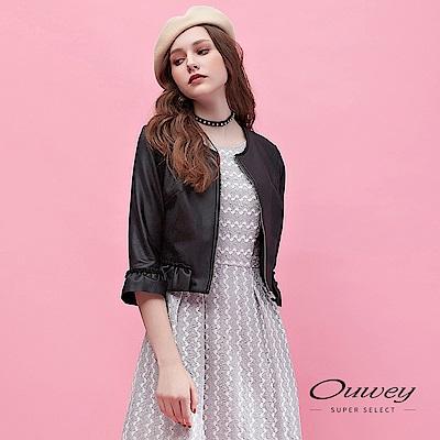 OUWEY歐薇-活片荷葉仿皮感刷毛造型外套-黑