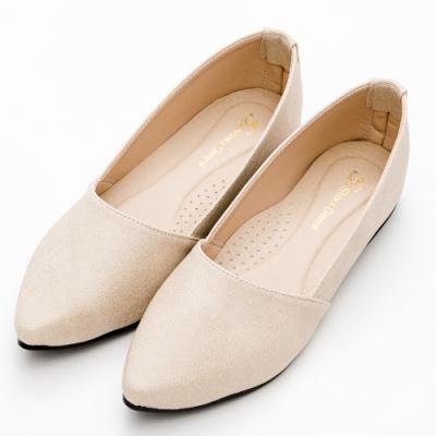 River&Moon平底鞋 台灣製極簡素面Q軟底尖頭平底鞋 米