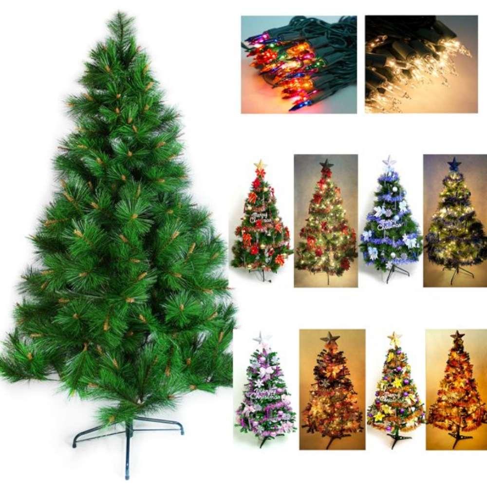 摩達客 5尺特級綠松針葉聖誕樹(飾品組)+100燈鎢絲燈2串