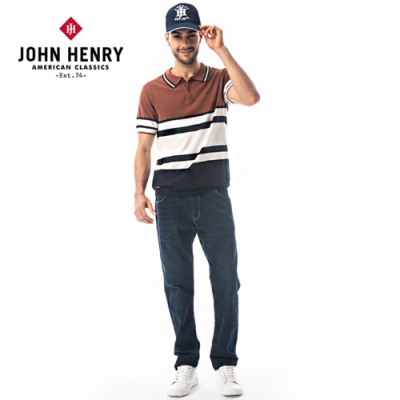 【JOHN HENRY】領圍線條設計復古配色針織上衣-咖