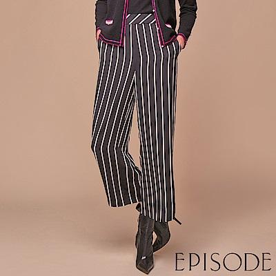 EPISODE - 黑底白直紋直筒西裝褲