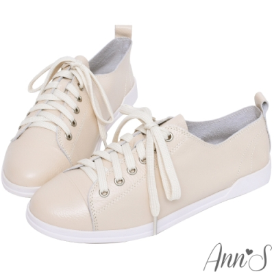 Ann'S休閒舒適全真牛皮超軟綁帶小白鞋 -奶茶杏