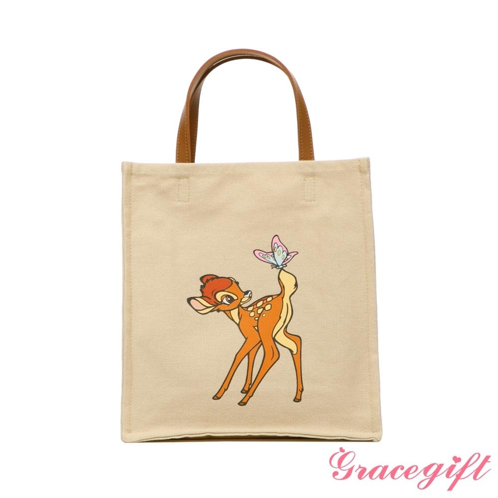 Disney collection by grace gift-迪士尼小鹿斑比圖案帆布方包 卡其