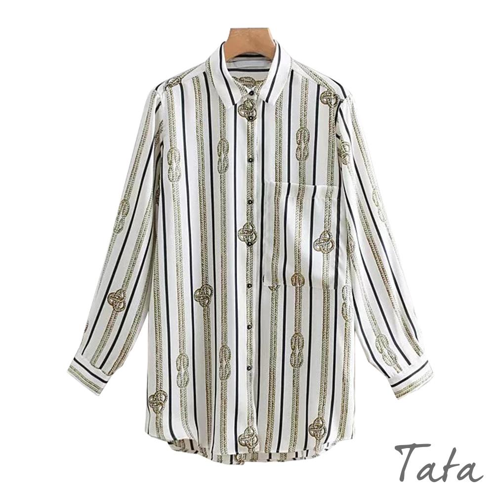寬鬆鍊條印花口袋襯衫 TATA