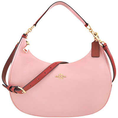 COACH 櫻花粉色荔枝紋皮革斜背/側肩包