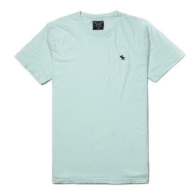 麋鹿 AF A&F 經典圓領電繡麋鹿素面短袖T恤(BONL)-淡藍色