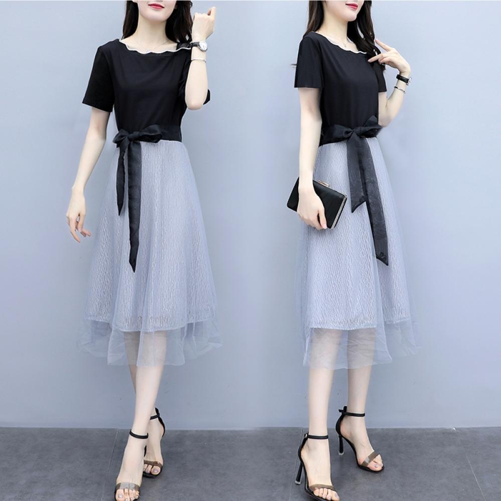 白色滾邊露單肩黑色上衣側綁帶拼接灰色金蔥紗裙洋裝XL~4L-Ballet Dolly