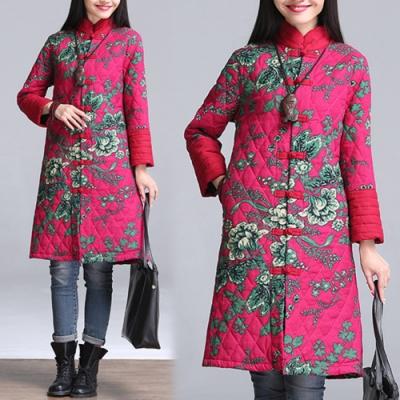 【韓國K.W.】中國焦點美人彩繪風顯瘦版型鋪棉外套-1色