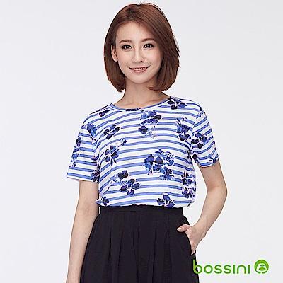 bossini女裝-圓領全版印花條紋上衣天藍