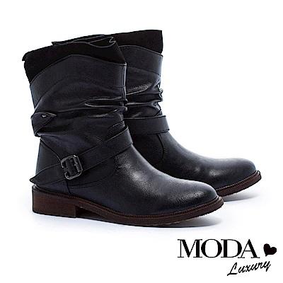 短靴 MODA Luxury 抓縐仿舊感異材質拼接設計粗跟短靴-黑