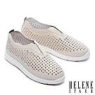休閒鞋 HELENE SPARK 隨性簡約沖孔設計全真皮厚底休閒鞋-米