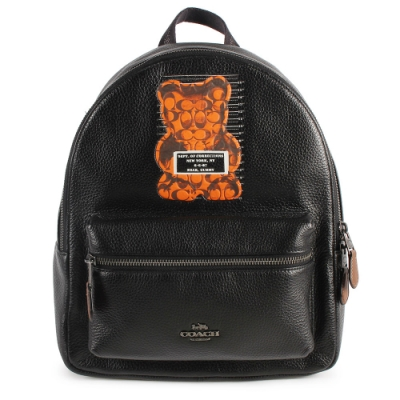 COACH 暴力熊聯名荔枝皮紋後背包-黑色