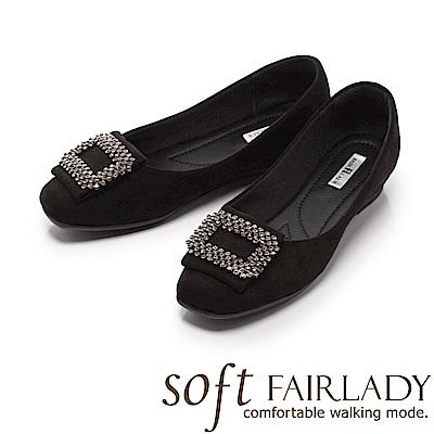Fair Lady Soft芯太軟 迷人水鑽框飾方頭麂皮平底鞋 黑