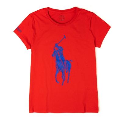 Polo Ralph Lauren 經典大馬印刷設計短袖T恤(女)-紅色