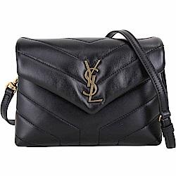 YSL Saint Laurent LOULOU 金字絎縫小牛皮斜背包(黑色)