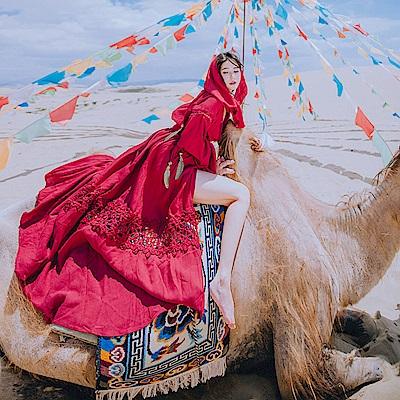 復古瑰紅鏤空刺繡大襬洋裝-M~L-維拉森林