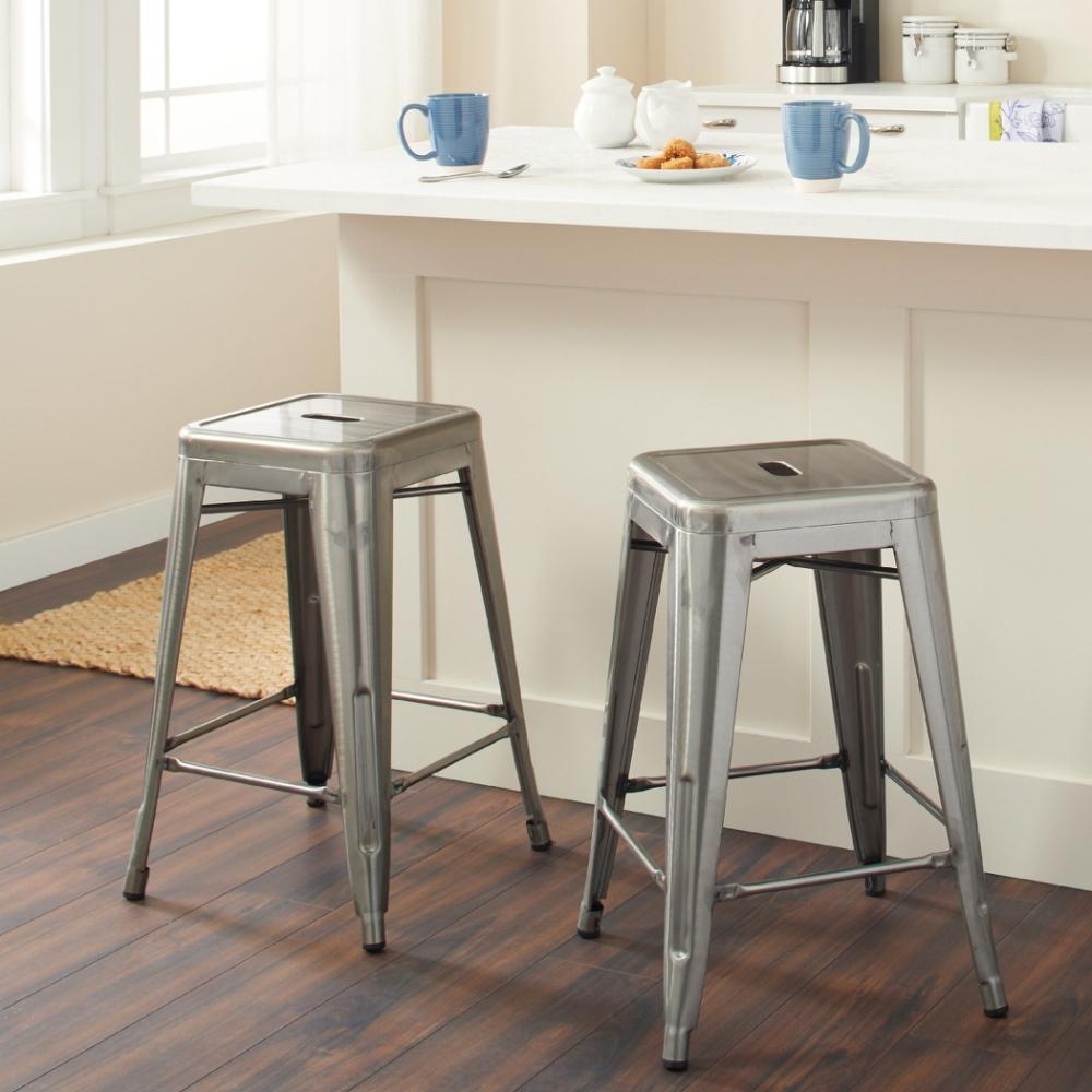 E-home Vali瓦力工業風可堆疊金屬吧檯椅-高61cm 槍色