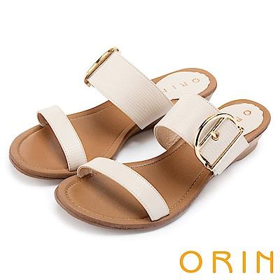 ORIN 簡約時尚潮流 壓紋牛皮楔型低跟涼拖鞋-米色