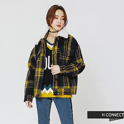 H:CONNECT 韓國品牌 女裝-毛呢格紋翻領外套-黃
