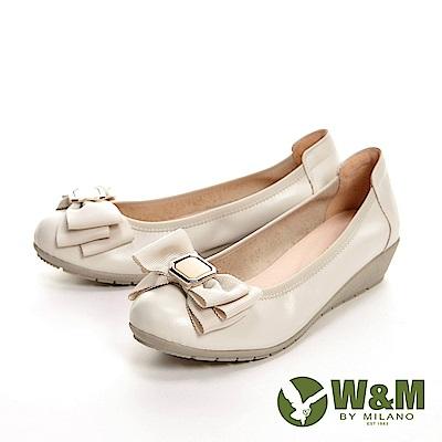 W&M 氣質蝴蝶節低跟娃娃鞋 女鞋-米白(另有黑)