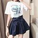 La Belleza牛仔鬆緊腰高腰附綁帶薄料闊腿短褲裙