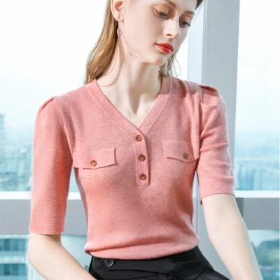 專注內搭-五分袖羊毛衫鈕扣素色V領上衣針織衫(四色S-2XL可選)