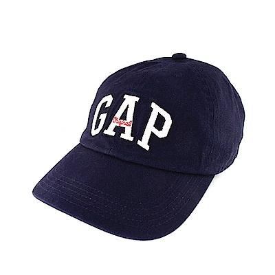 GAP 經典LOGO布釦鴨舌帽-深藍色
