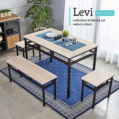 H&D 里洛工業風個性鐵架餐桌椅組-4件式