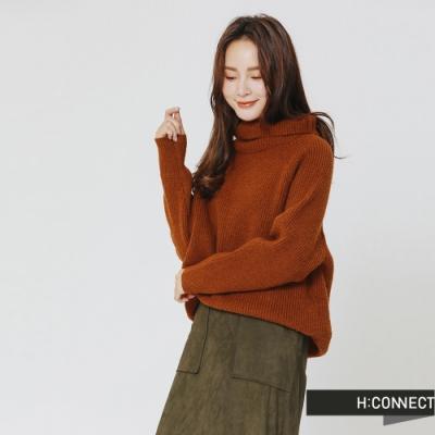 H:CONNECT 韓國品牌 女裝 -翻領坑條針織上衣-棕(快)