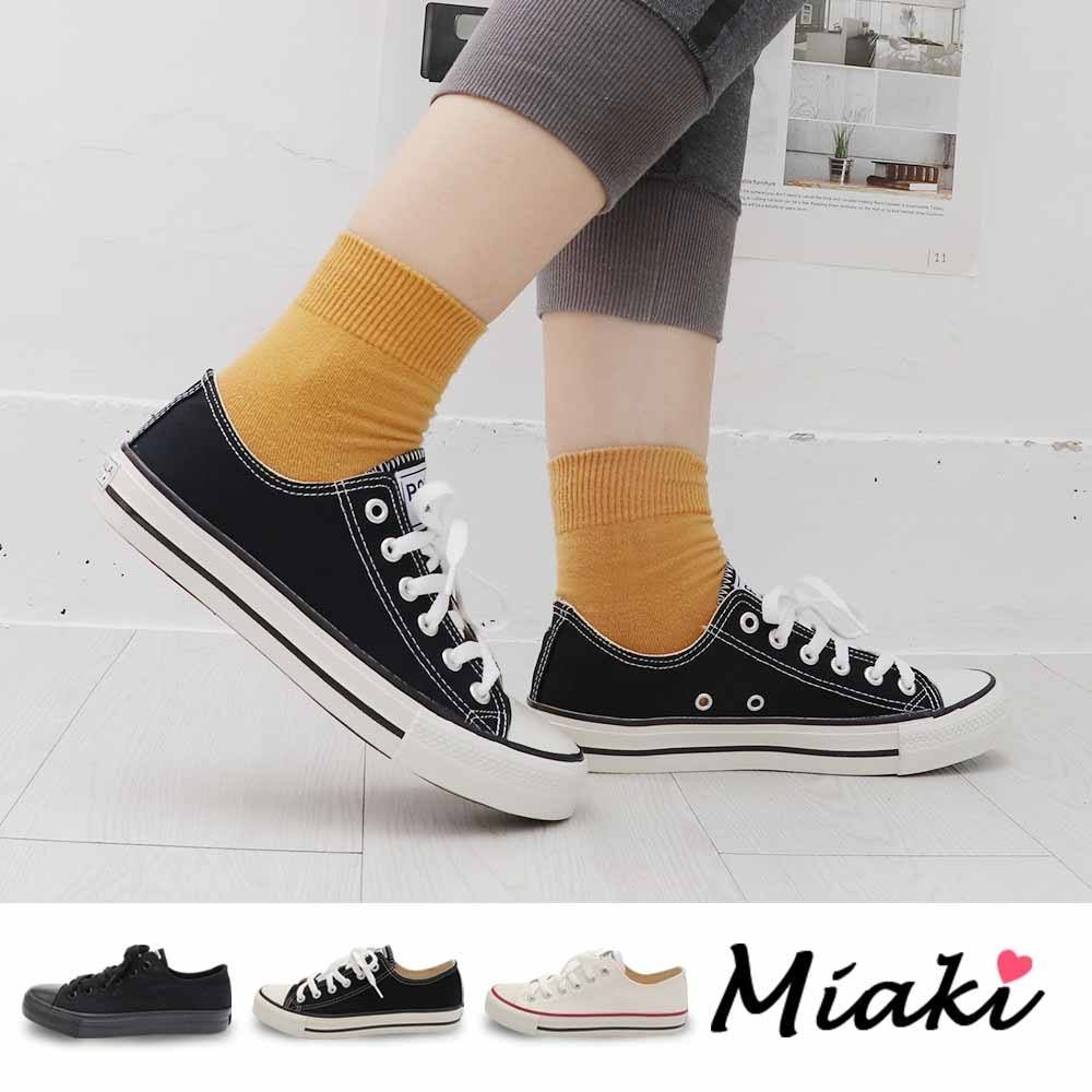 Miaki-帆布鞋.學院風潮百搭休閒鞋 (黑色系)