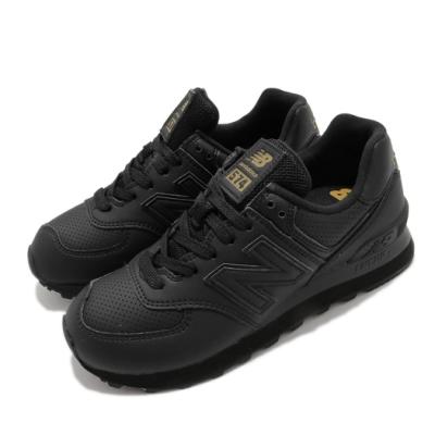 New Balance 休閒鞋 574 簡約 穿搭 女鞋 紐巴倫 基本款 皮革 質感 球鞋 黑 金 WL574SYJB