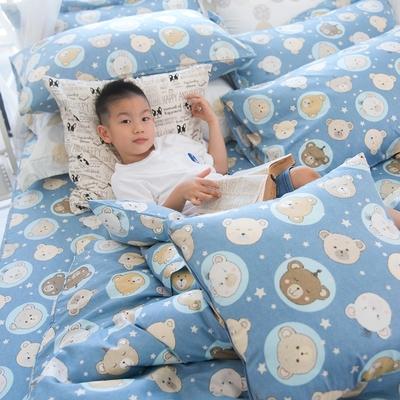OLIVIA  寶貝熊 藍  標準單人床包夏日涼被三件組  200織精梳純棉 台灣製