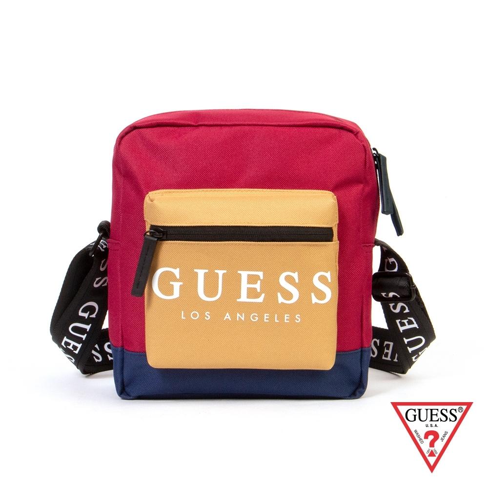 GUESS-男包-時尚撞色經典LOGO斜背包-紅 原價1490