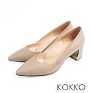 KOKKO - 遠方的凝望鏡面粗跟素面高跟鞋-中性灰