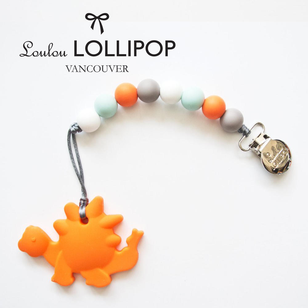 加拿大Loulou lollipop加拿大 嬰幼兒造型 固齒器組/奶嘴鍊夾-橘恐龍