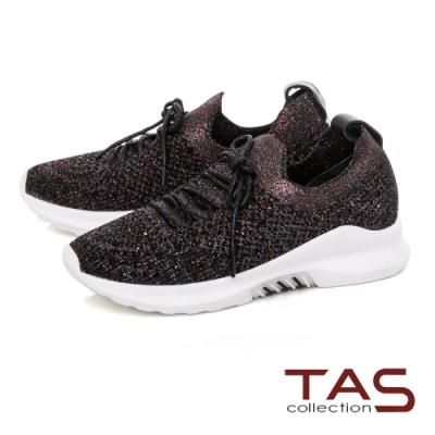 TAS飛織綁帶休閒鞋-率性黑