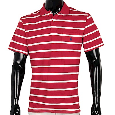 RALPH LAUREN 經典橫紋POLO衫-(紅白)
